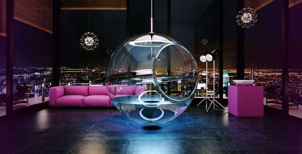 ابتكار جديد: حوض استحمام دائري وزجاجي
