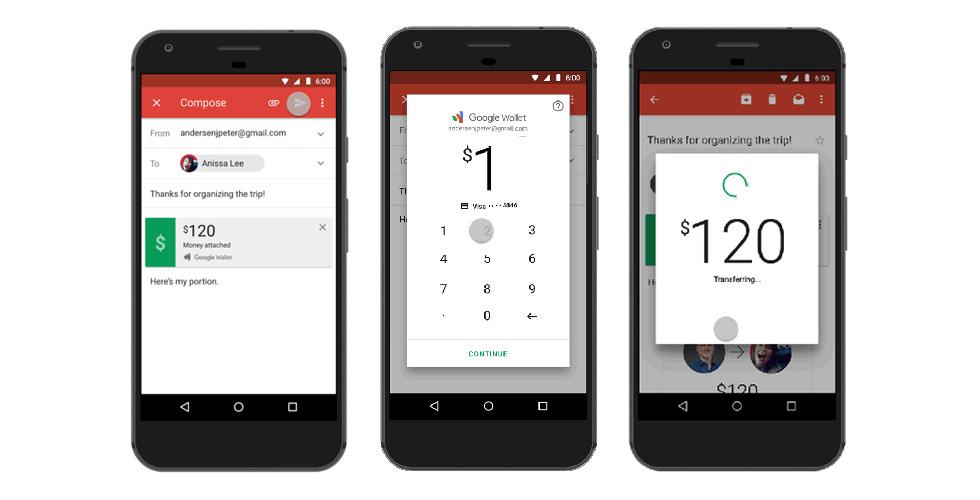 أرسل واطلب المال عبر Gmail  و Android