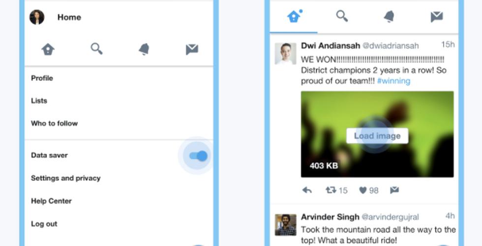 تويتر وتطبيق توفير استهلاك الانترنت