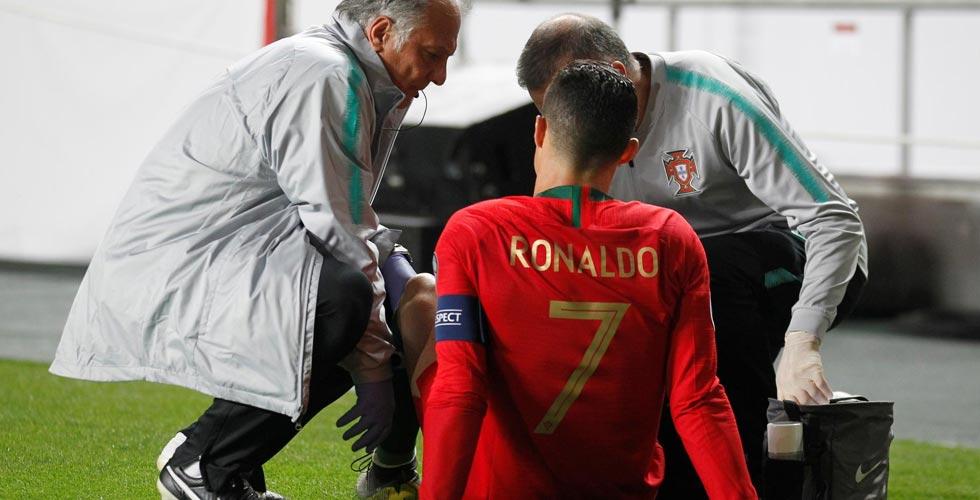 رونالدو مصابٌ بعضلات فخذه الأيمن