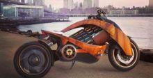 الدراجة الكهربائية بهيكلها الخشبي ومتانتها في الاندفاع