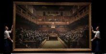 لوحة القرود في البرلمان البريطاني لبانكسي تُباع ب١٢مليون دولار